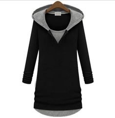 Fashion Casual Black Long-Sleeve Hoodie Sweater with hat