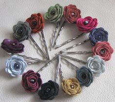 leather floral bobby pin roses
