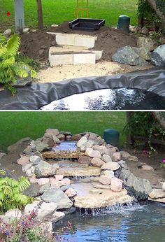 garden waterfall diy. Would work great for around a natural in the ground hot tub.