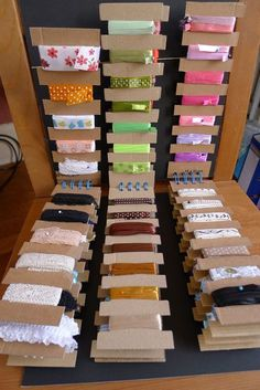 New Photo scrap Ribbon Storage Thoughts Involving many of the craziness with renovating the kitchen at home, I have been previously taking c Craft Room Organisation, Ribbon Organization, Ribbon Storage, Thread Storage, Scrapbook Organization, Fabric Storage, Sewing Room Storage, Craft Room Storage, Sewing Rooms