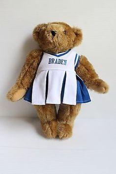 VERMONT TEDDY BEAR Cheerleader Jointed Brown Handmade Stuffed Bear