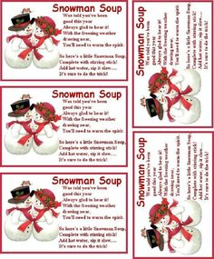 You can print this photo and use it as a label for your Snowman Soup. Here's a really neat ideal that people really seem to love and I'm sure your kids or grand kids will love it to. Its a fun holiday ideal called Snowman Soup. I know a lot of the. Christmas Goodies, Christmas Candy, Homemade Christmas, Diy Christmas Gifts, Christmas Projects, Winter Christmas, Christmas Holidays, Christmas Ideas, Frugal Christmas