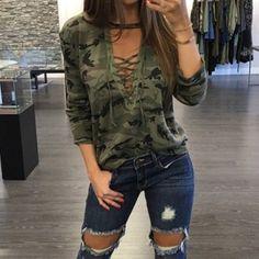 246915a736d36 Zanzea Wanita Blus Kemeja Wanita Berlengan Panjang untuk Up V Blusas Leher  Kasual Fashion Kamuflase Print Tops -Intl