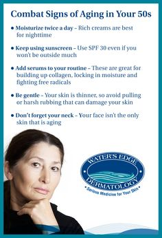 Signs of aging become more prominent in your 50s. Here are some things you can do to combat wrinkles, collagen loss and dryness.