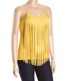 Another great find on #zulily! Yellow Fringe Tank - Plus #zulilyfinds