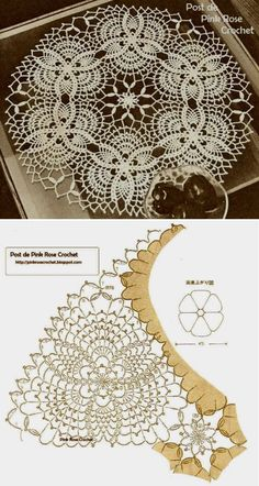 Discover thousands of images about Pineapples Doily Centrinho Abacaxis Crochet Doily Diagram, Crochet Motif Patterns, Crochet Designs, Crochet Dollies, Crochet Flowers, Crochet Lace, Crochet Patron, Fillet Crochet, Pineapple Crochet