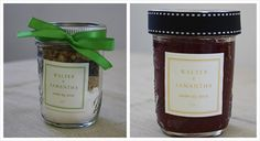 Mason jars  Homemade jam  Dry ingredients for the cookies, brownies or other baked treats of your choice  Ribbon  Matching gift tag stickers