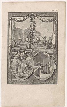 Theodoor Koning | Vier bijbelse voorstellingen op een blad, Theodoor Koning, Jacobus van Meurs, Kuijper & van Vliet, 1794 | Linksboven 'Het onvoltooide gebouw', rechtsboven 'Het onkruid onder de tarwe' (Mat. 13). Linksonder in een medaillon een afbeelding van een man die de onvruchtbare vijgenboom om wil hakken, maar gewaarschuwd wordt om nog een jaar te wachten (Luc.13: 6-9). Rechtsonder in een medaillon de rechter en de weduwe. Deze prent is een illustratie uit 'Uitgezogte bijbelsche…
