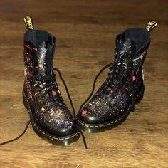 Dr Shoes, Crazy Shoes, Black Shoes, Dr. Martens, Dr Martens Boots, Minion Shoes, Shoe Makeover, Shoes Wallpaper, Creative Shoes