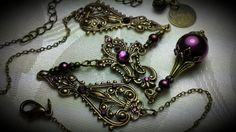 Steampunk Red Wine Choker Amethyst Purple Pearl Drop Antique Gold Bronze Filigree Titanic Temptations Jewelry Vintage Victorian Bridal Style