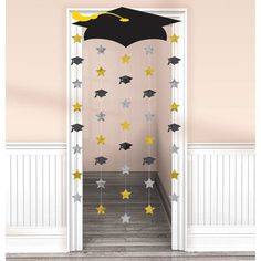 Graduation Decorations 60834 Amscan Make a memorable entrance when you walk through this Graduation Cap Doorway Curtain. Mount the lightweight cardboard graduation cap to the top of the doorway and let the strings with foil cutouts rain down. Outdoor Graduation Parties, Graduation Party Planning, College Graduation Parties, Graduation Banner, Graduation Party Supplies, Graduation Celebration, Graduation Ideas, Graduation Caps, Kindergarten Graduation