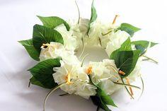 Ribbon lei for hula girls(white hibiscus head band B) /Hula Accessories/Hula Flowers/Hawaii /hawaiian crown/headband/haku/Flowers Hair Clip/ Ukulele Accessories, Girls Hair Accessories, Hawaiian Party Favors, Ukulele Straps, Ribbon Lei, Band B, White Hibiscus, Hula Dancers, Flower Names