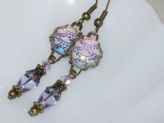 Sparkly Iridescent Dangle Earrings  Purple AB by judysmithdesigns, $9.00