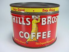 """Vintage Red 1/2 lb. """"Hills Bros. Coffee"""" Can"""