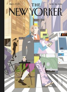 """Time Warp"" Richard McGuire's cover for the Tech Issue of The New Yorker Magazine. McGuire's new book ""Here,"" tells the story of a corner of a room and the events in that space moving forward and backward in time. via The New Yorker The New Yorker, New Yorker Covers, Capas New Yorker, Illustrations, Illustration Art, Christoph Niemann, Thanksgiving Wallpaper, Time Warp, Magazine Art"