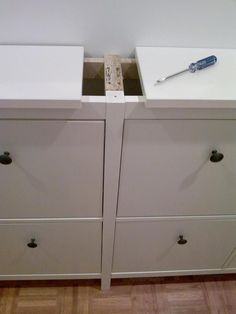 IKEA Hackers: Another twinned Hemnes shoe cabinet. Might come in handy....