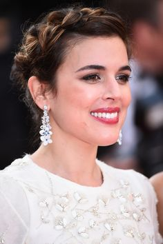 """69th Cannes International Film Festival Red Carpet / """"Julieta"""" directed by Pedro Almodóvar Adriana Ugarte dazzled, wearing Hortensia """"Voie Lactée"""" earrings and ring in white gold, diamonds, blue sapphires and white chalcedony."""