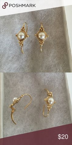 Gold and Pearl Earrings Delicate gold and pearl dangle earrings. Jewelry Earrings