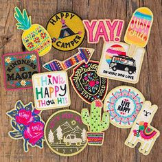 This Natural Life restickable patch features a sentiment with bright and metalic threads. Cute Patches, Pin And Patches, Diy Patches, Laptop Stickers, Cute Stickers, Tumblr Stickers, Get Happy, Natural Life, Happy Campers