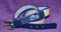 Vtg Izod Lacoste Preppy Stretch Hemp Leather Belt Mens L Large 36 Navy Tan #LacosteIzod