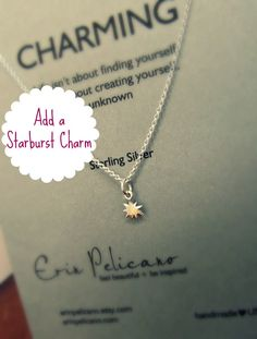 Add A STARBURST charm / Charm Necklace / Sterling Silver delicate jewelry