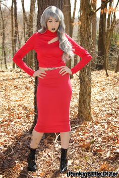 Red crop top, red pencil skirt, stiletto boots, gray hair, granny hair, pencil skirt outfit
