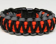 Cobra de roi de Bracelet de survie paracorde - gris noir avec Neon Orange Core