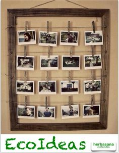 Otra forma de colgar fotos ;) Photo Polaroid, Old Picture Frames, How To Memorize Things, Diy Home Decor, Photo Wall, Images, Search, Projects, Old Frames