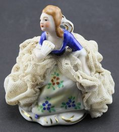 Dresden Lace Figurine Collectable Germany Gorgeous Painting | eBay