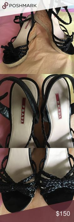 """Authentic  PRADA Sport Leather Wedge  Size 37, Great Prada Wedge Size 37EU. Black braided strap, accented with bow and 4"""" Cork Wedge. Condition is Very Good! Minor wear throughout.  If need additional pictures or have questions let me know! These will go fast! Measures 9.5 """" from heel to toe taken from top of shoe. Prada Shoes Wedges"""