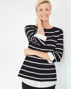 72d282af70e9d Striped Layered Effect Pullover. White TopsPullover SweatersChicos ...