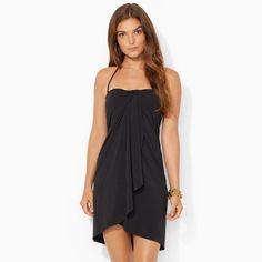 Ralph Lauren Lauren Strapless Wrap Cover-Up - Black - Size 6