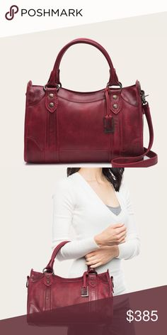 """FRYE MELISSA SATCHEL Shoulder Bag Tote Crossbody Brand new with tags! Burgundy, red, wine Melissa Satchel Made from beautiful pull up leather with Frye's signature Melissa buttons, The kind of carryall that gets even better with age. FEATURES - Antique hardware - 9"""" height - 14 1/2"""" width - 6 1/2"""" handle drop - 22"""" strap drop - Removable crossbody strap - One zip and two slip interior pockets - Zipper closure. Frye Bags"""