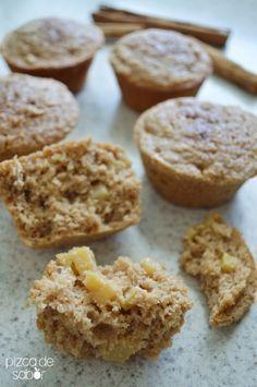 Muffins de manzana, canela y avena (sin trigo) | http://www.pizcadesabor.com/2014/10/15/muffins-de-manzana-canela-y-avena-sin-trigo/