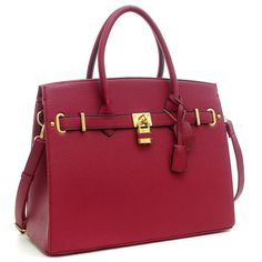 Dasein Padlock and Key Satchel Handbag with Removable Shoulder Strap