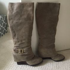 Vince Camuto leather wedge boots Vince Camuto taupe leather wedge boots with wood wedge heel and gold hardware. Mild wear in the leather Vince Camuto Shoes Heeled Boots