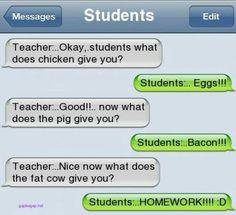 Hilarious Text About Students vs. Teacher