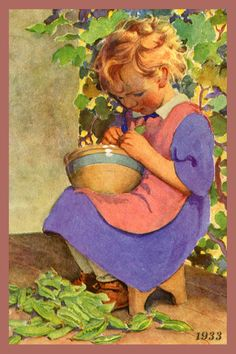 Quilt Block of 1933 painting of Girl Shucking Peas by Jessie Willcox Smith printed on cotton. Ready to sew.  Single 4x6 block $4.95. Set of 4 blocks with pattern $17.95.