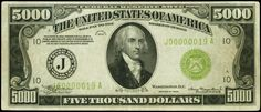1934 Five Thousand Dollar Federal Reserve Note 5000 Dollar Bill, Thousand Dollar Bill, Thousand Dollars, Five Thousand, Dollar Bills, Bill Template, Templates, Federal Reserve Note, Money For Nothing