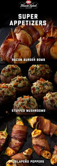 Make a big bacon statement for the big game. | Super | Appetizers | Entertaining | Bacon | Big Game | Bowl | Poppers | Jalapeño Bacon | Maple Black Pepper | Stuffed Mushroom | Pecanwood | Double Smoked | Burger Bomb |