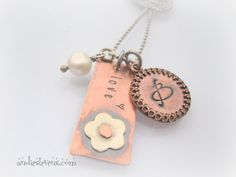 Initial Necklace - Rustic Copper - Tag Necklace Sterling Silver Flower - Hand Stamped - Personalized  Riveted
