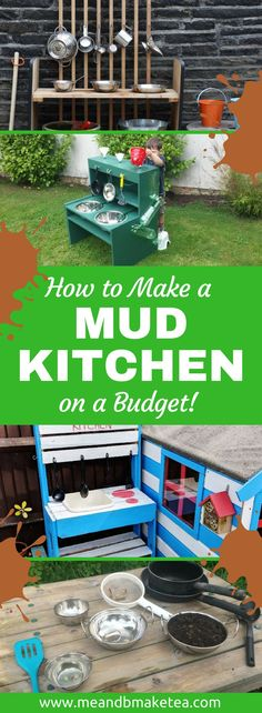 How to Make a Mud Kitchen on a Budget! How to make a mud kitchen for summer outdoor play ! Perfect for kids and you don't need to spend a fortune. I show you simple ideas for making a mud kitchen on a budget and with limited DIY skills! Outdoor Play Kitchen, Diy Mud Kitchen, Mud Kitchen For Kids, Kids Outdoor Play, Backyard Kitchen, Outdoor Kitchen Design, Backyard For Kids, Kitchen On A Budget, Diy On A Budget