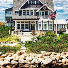 Block Island beach home exterior Coastal Cottage, Coastal Living, Cape Cod, Porches, Villas, Dream Beach Houses, Block Island, To Infinity And Beyond, House Goals