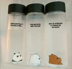 Tag 2 people you'd share these with ☺️♥️ Cute Water Bottles, Cool School Supplies, We Bare Bears Wallpapers, We Bear, Bear Wallpaper, Too Cool For School, Cool Things To Buy, Geek Stuff, Stationery