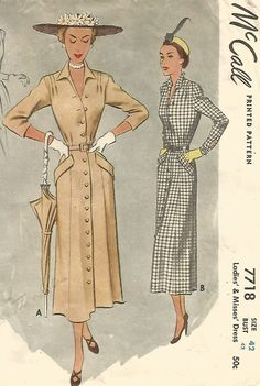 VINTAGE MISSES' SHIRTSTYLE DRESS DEEP POCKETS SEWING PATTERN 1940's © 42 BUST