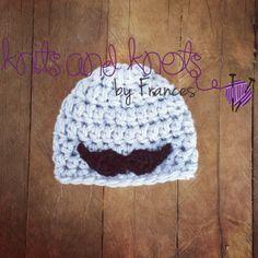 Mustache crochet hat Boys crochet hatGrey by KnitsNKnotsByFrances, $20.00