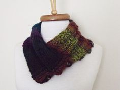 Neckwarmer With Button and Flower BroochCowlLoop by knittingshop, $24.00