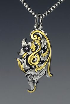 Hand Engraved Super Scroll Pendant by AdamGarretJewelry on Etsy, $1300.00