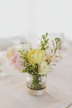 petite centerpiece, photo by Willlow & Co http://ruffledblog.com/belgenny-farm-wedding #weddingcenterpieces #flowers
