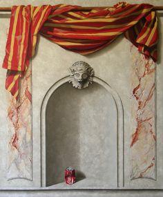 Trompe l'oeil avec drapé, marbre et ornementation (116x140cm)